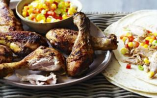 Photo: chicken fajita drumsticks with mexican corn salad
