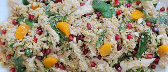 Warm chicken salad with pomegranate and clementine - Mauritian cuisine 100 easy recipes ...