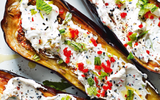 Photo: Roasted Aubergines with Fennel and Labneh