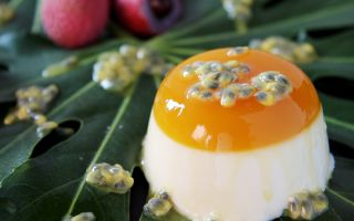 Photo: Lychee Panna Cotta with Passion Fruit Jelly