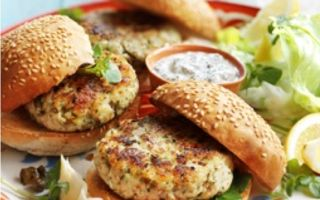 Photo: Cod & Fennel Burgers with Tzaziki